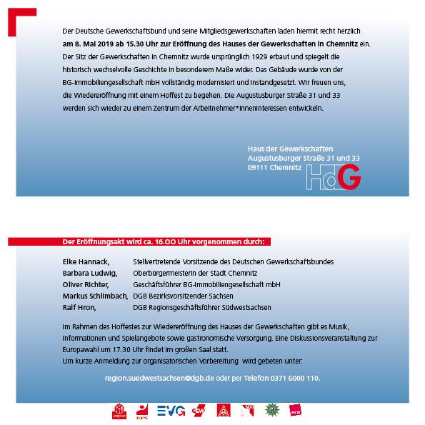 Einladung für die Wiedereröffnung des Haus der Gewerkschaften ion Chemnitz