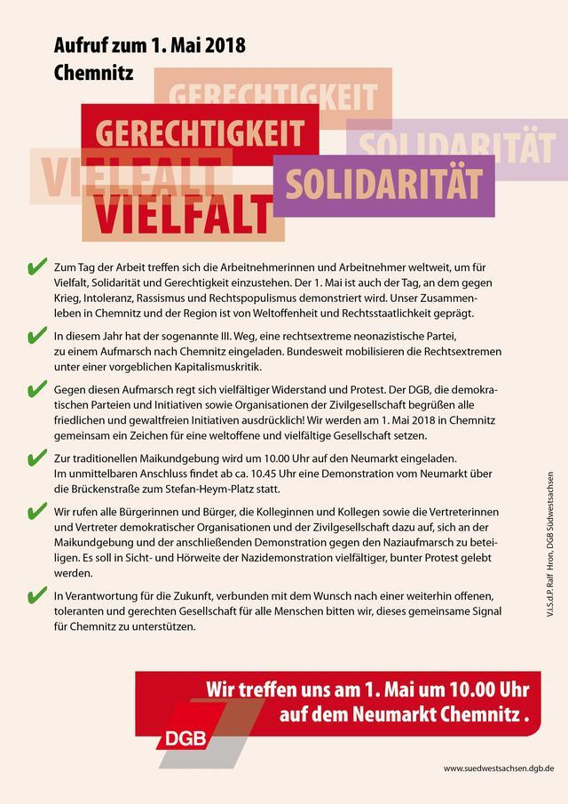 Aufruf gegen rechts Chemnitz erster Mai vorn
