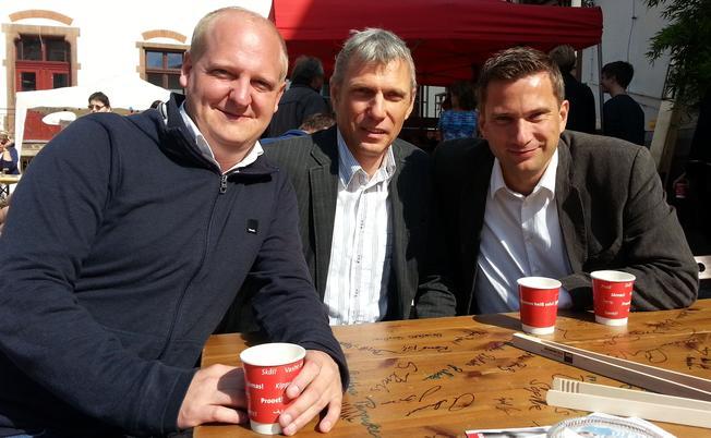 Foto der drei Kandidaten der SPD