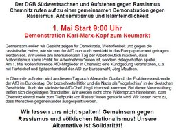 Aufruf Demo 1. Mai Chemnitz