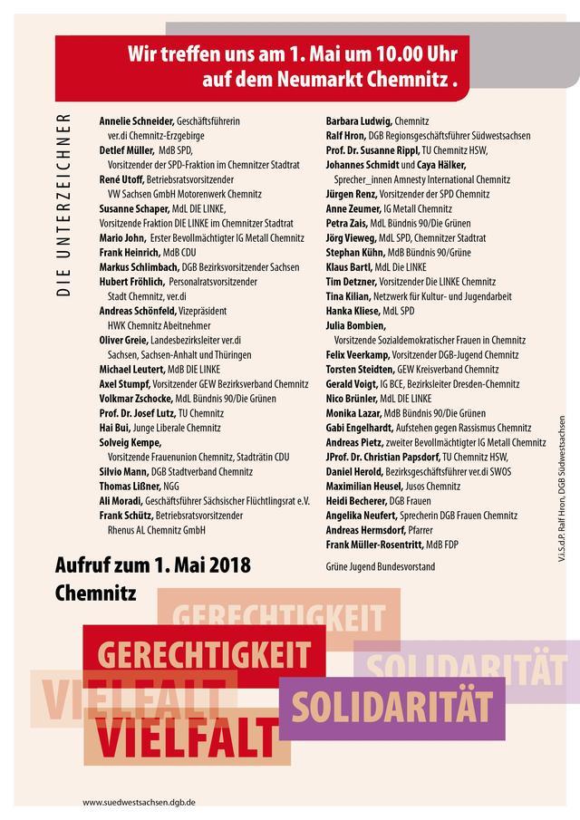 Rückseite Aufruf DGB Chemnitz 2018