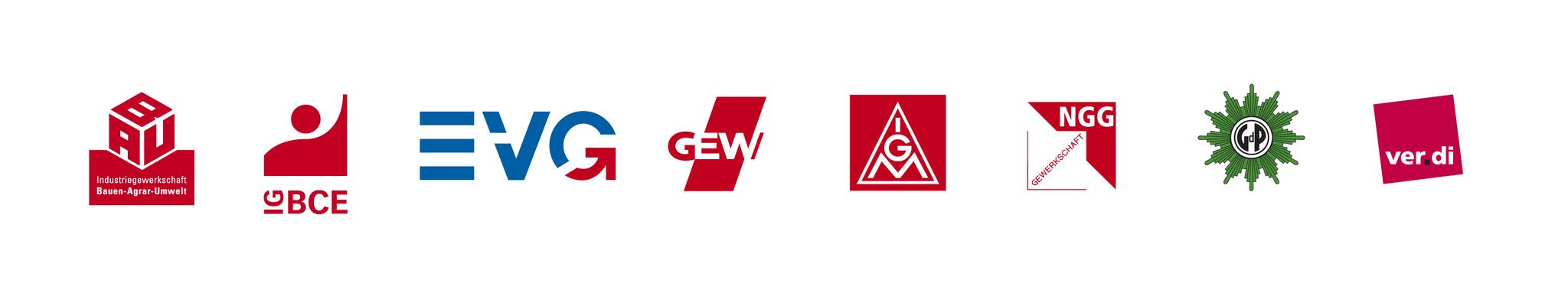 Die Logos der acht DGB Gewerkschaften