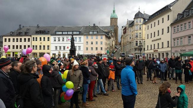 Kundgebung in auf dem annaberger Markt.