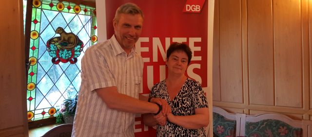 DGB Kreisverbandsvorsitzender Mittelsachsen Lutz Richter und seine Stellvertreterin Gisa Dreilich.
