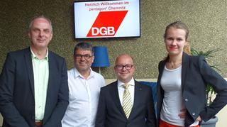 MdB SPD Detlef Müller,  MdL Die LINKE Nico Brünler,  Bündnis 90/Die GrünenMeike Rode und  FDP Frank Müller-Rosentritt, und Ralf Hron (DGB).