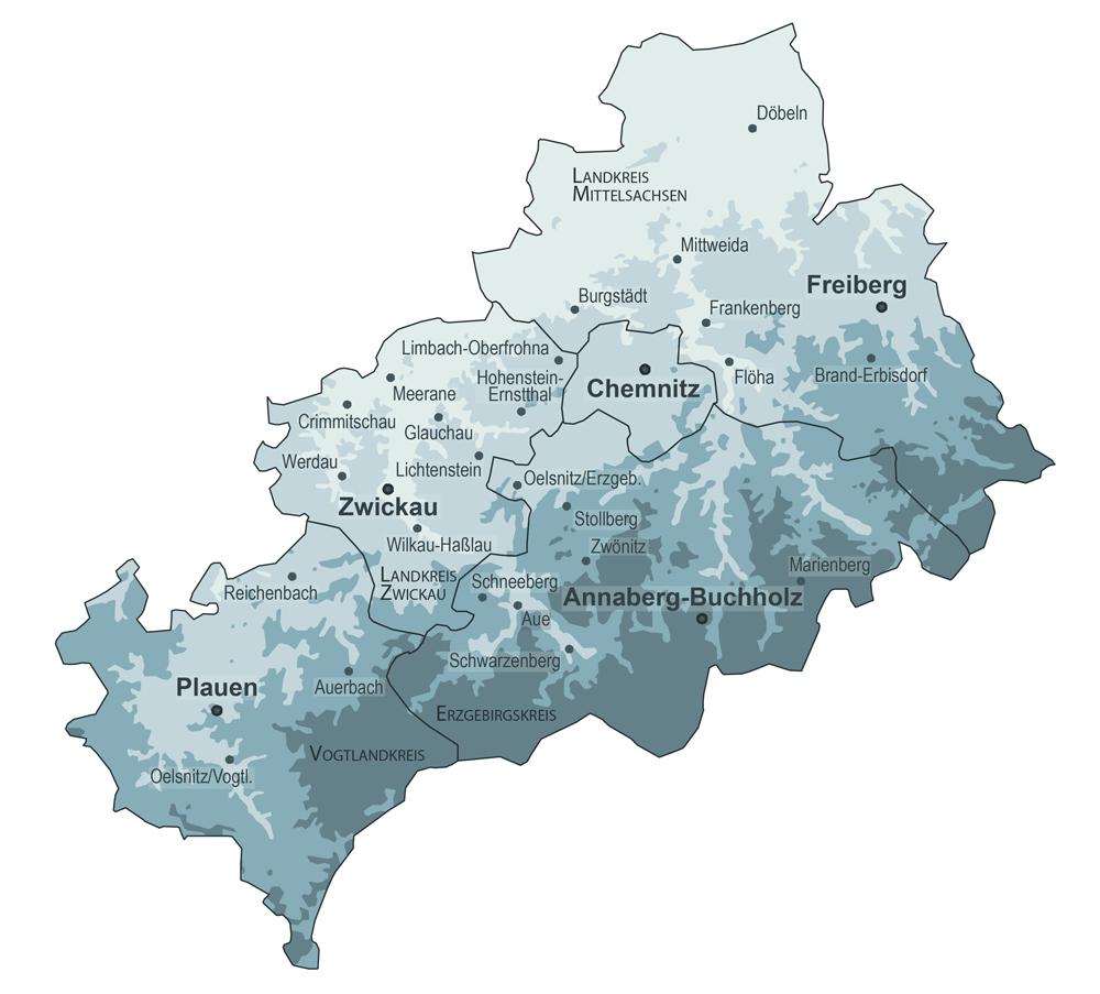 Eine Karte der Region Südwestsachsen mit allen Kreisgrenzen und den Städten mit mehr als zehntausend Einwohner_innen