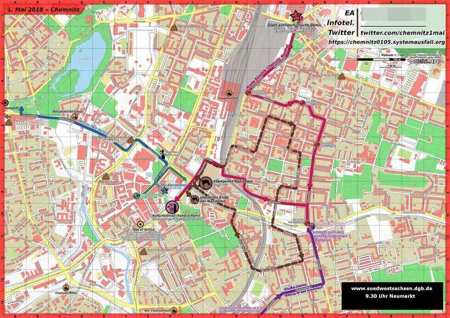 Karte 1. Mai 2018 Chemnitz
