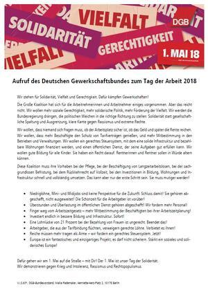 Aufruf DGB Tag der Arbeit 2018