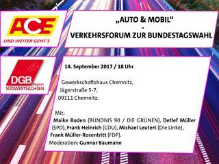"""""""Auto & Mobil"""" ein Verkehrsforum zur Bundestagswahl von ACE und DGB."""