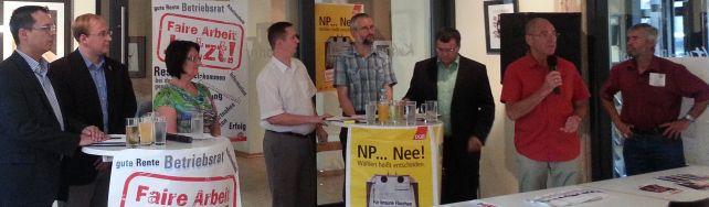 Das Podium des Wahlforum in Stollberg