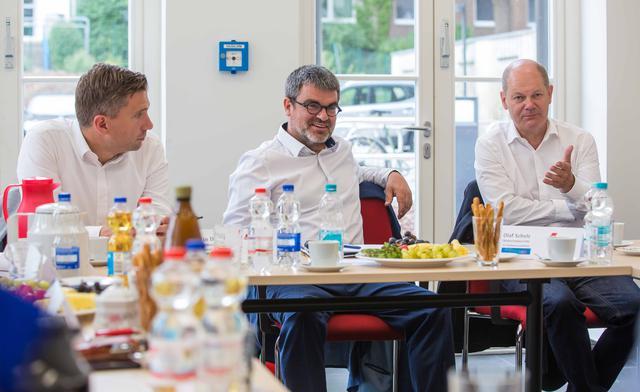 Vizekanzler Olaf Scholz, stellv. MP Martin Dulig und DGB SWS Ralf Hron am 6.8.2019